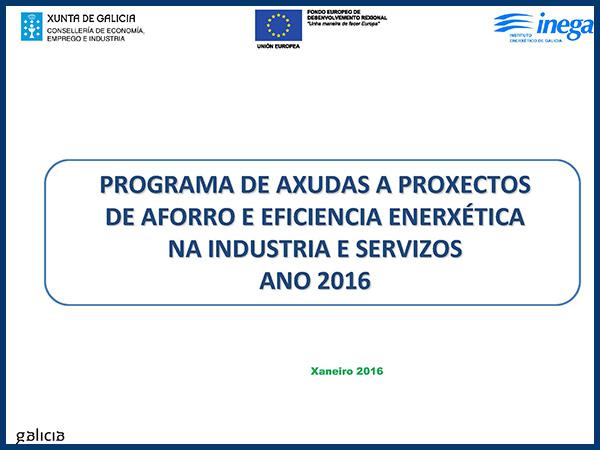 Programa de aforro e eficiencia enerxética na industria e servizos