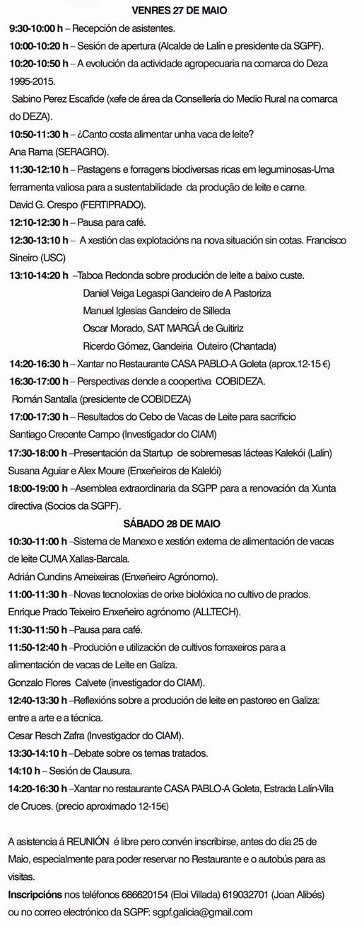 II Reunión de Primavera. Asociación Galega de Pastos e Forraxes