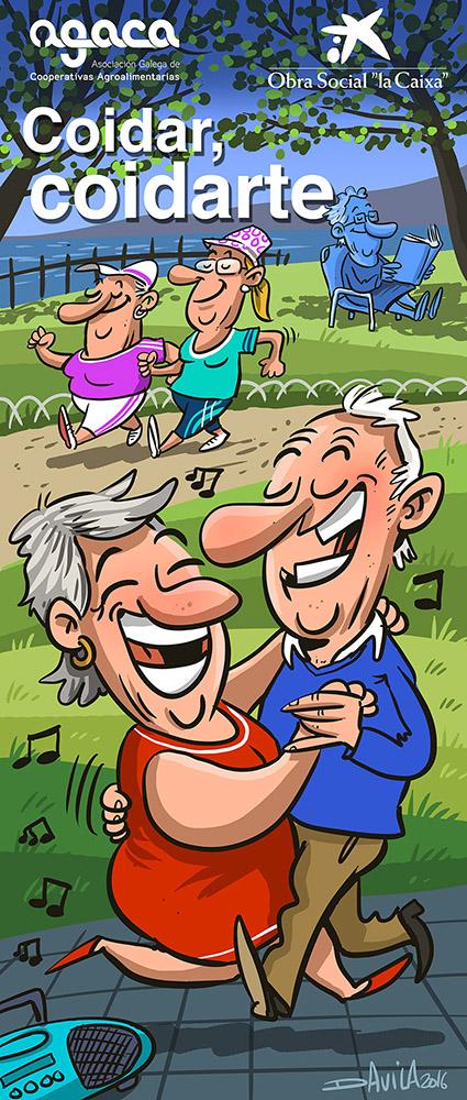 Coidar, coidarte - Envellecemento Activo AGACA e Obra Social la Caixa (ilustración de Davila)