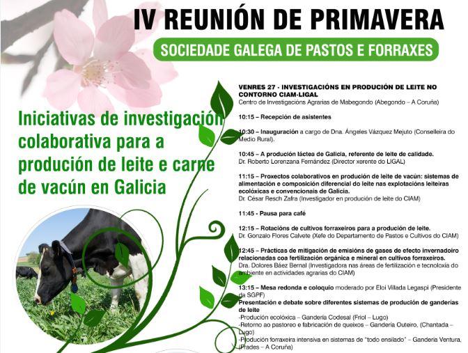 IV Reunión de Primavera da Sociedade Galega de Pastos e Forraxes, o 27 e 28 de abril