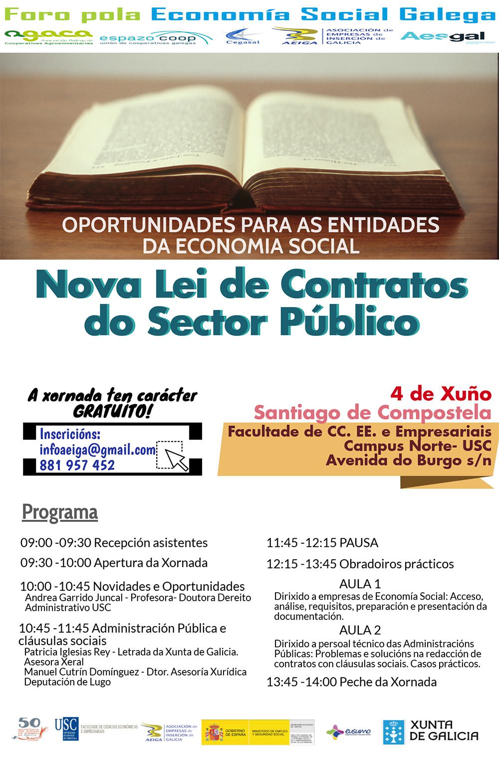 Xornada do Foro pola Economía Social Galega acerca da nova Lei de Contratos do Sector Público