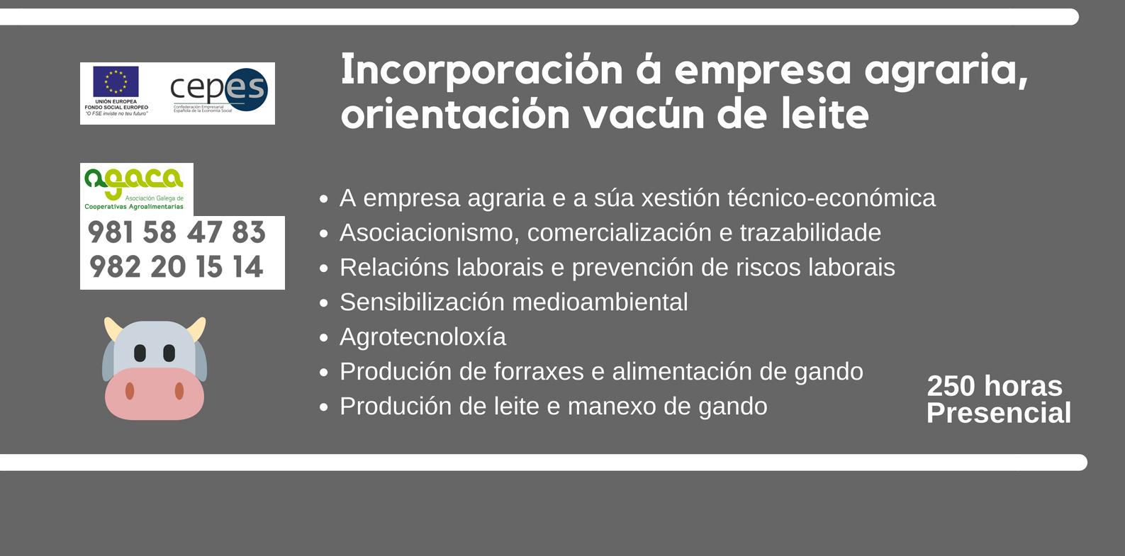 Comenzará en marzo un curso de Incorporación a la Empresa Agraria en O Rodo, en el marco de CEPES