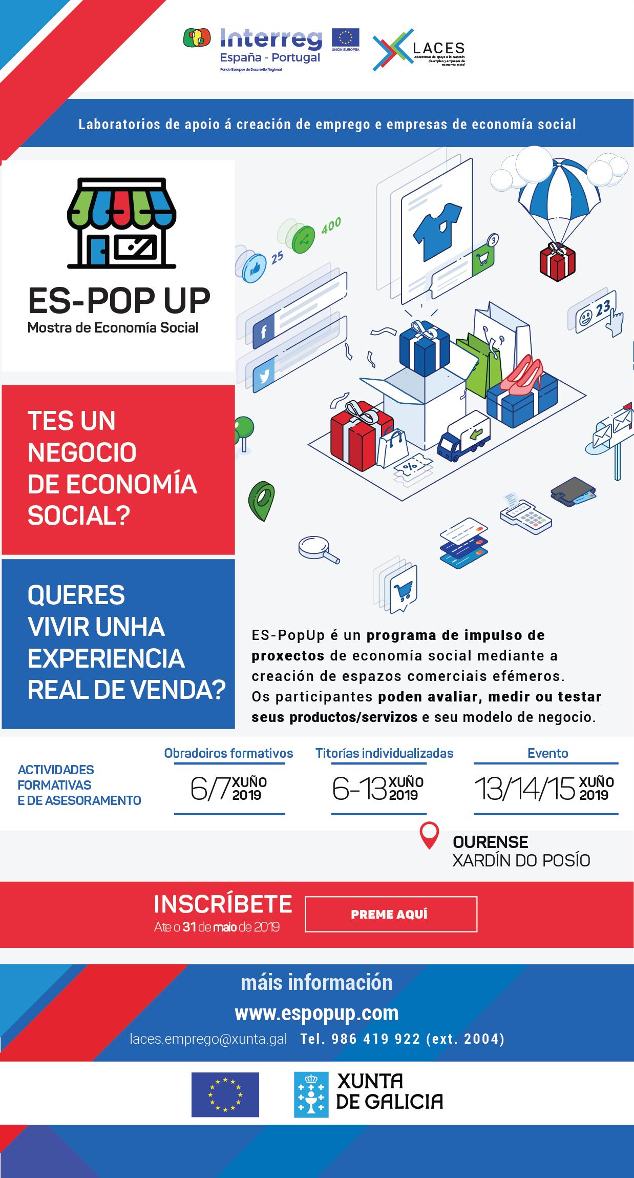 Ata o 31 de maio, aberto o prazo de inscrición para proxectos de economia social no espacio comercial  ES- POP UP Ourense