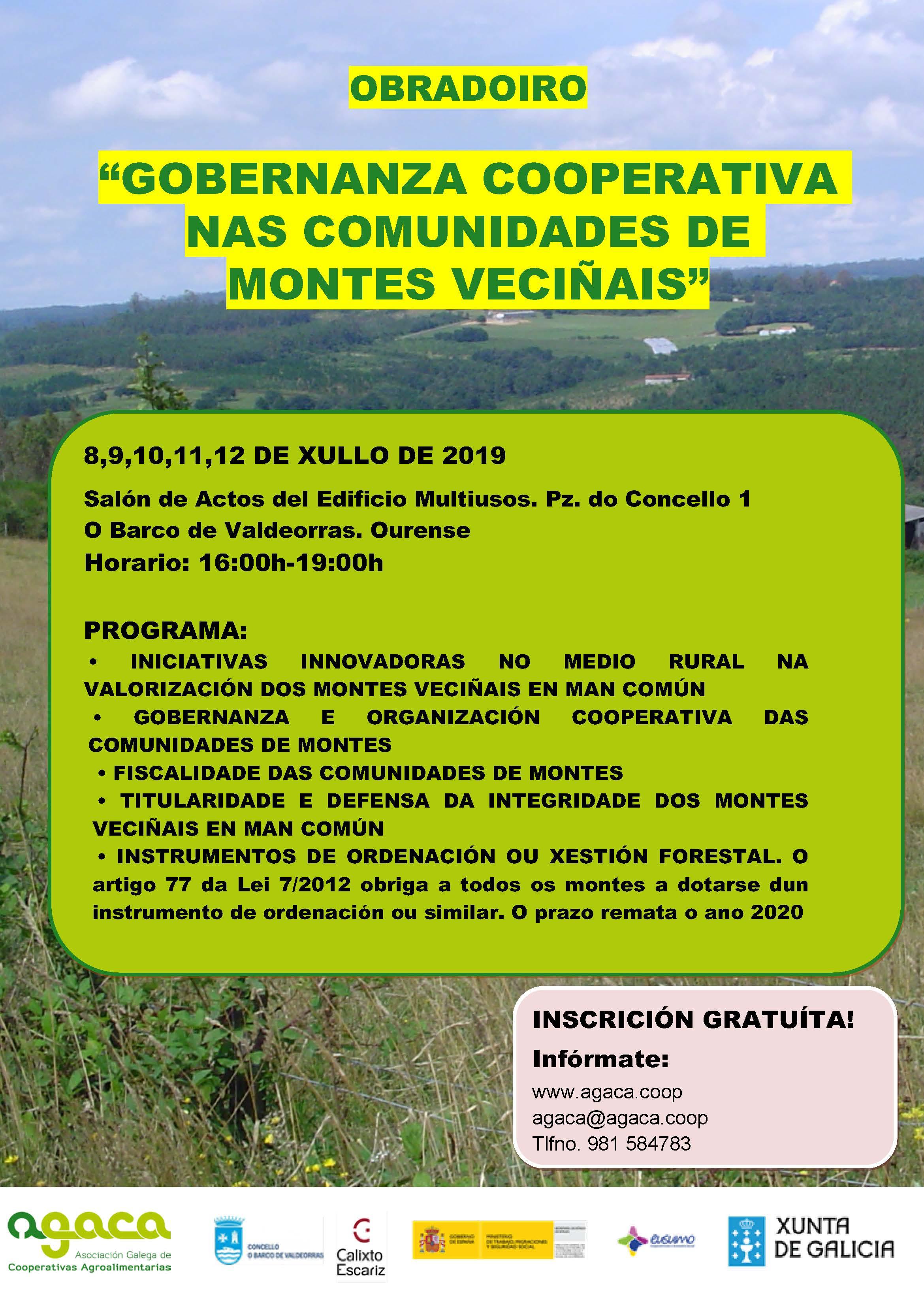 — Del 8 al 12 de julio: Obradoiro «Gobernanza cooperativa en las Comunidades de Montes Vecinales» – O Barco de Valdeorras