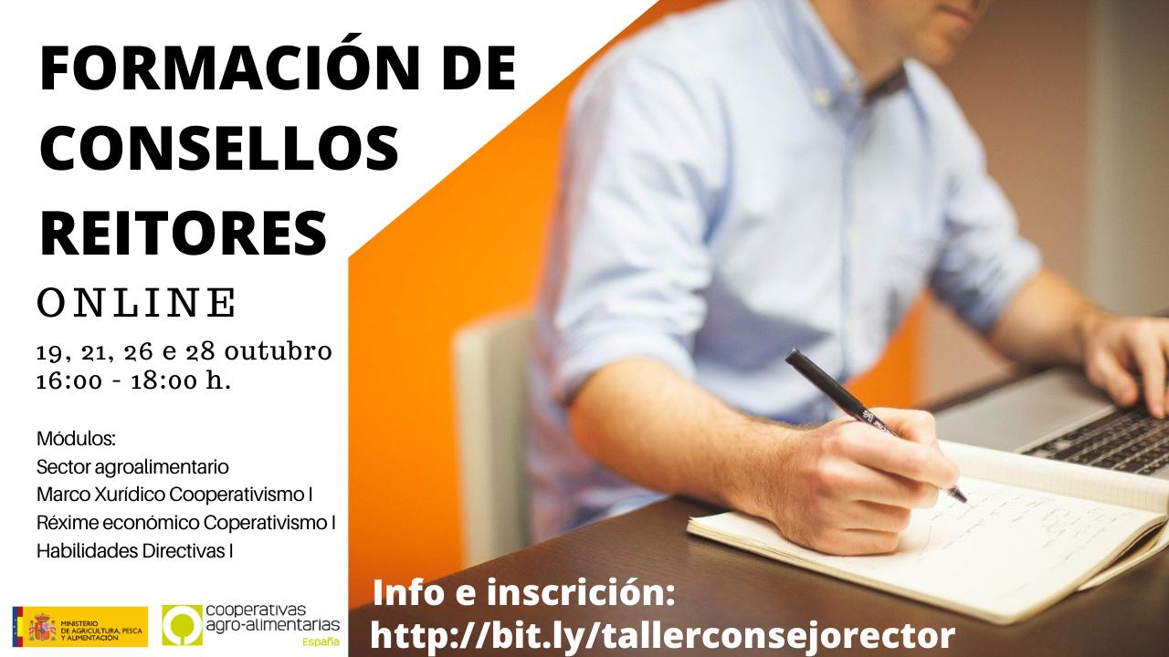 Abre la inscripción para el Taller online de Formación de Consejos Rectores. Comienza el 19 de octubre
