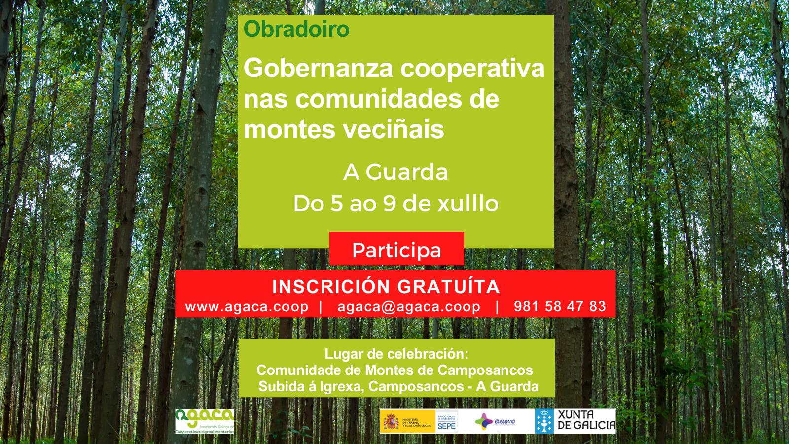 """— Do 5 ao 9 de xullo: Obradoiro """"Gobernanza cooperativa nas Comunidades de Montes Veciñais"""" – A Guarda"""