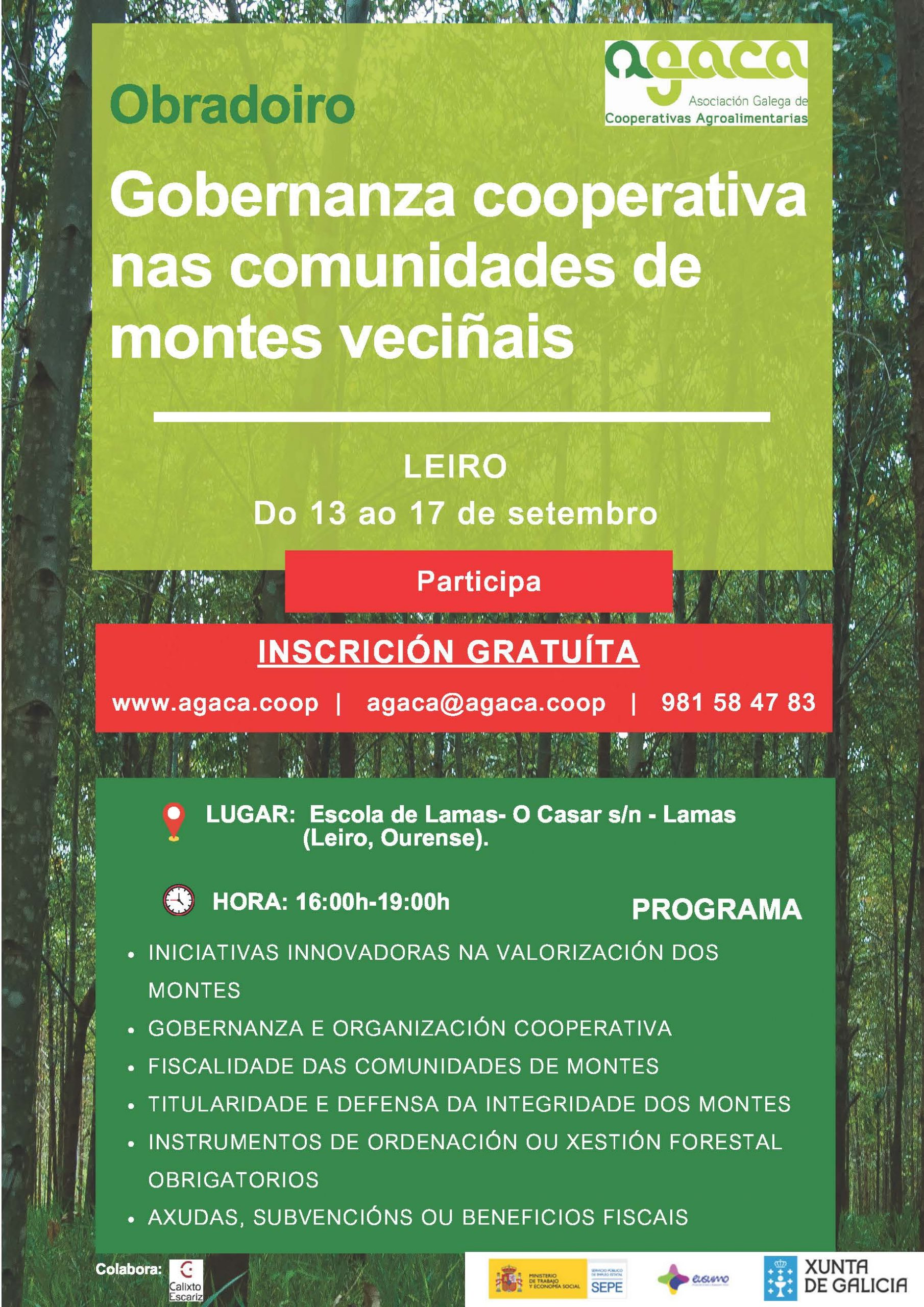 """Do 13 ao 17 de setembro: Obradoiro """"Gobernanza cooperativa nas Comunidades de Montes Veciñais"""" en Leiro"""