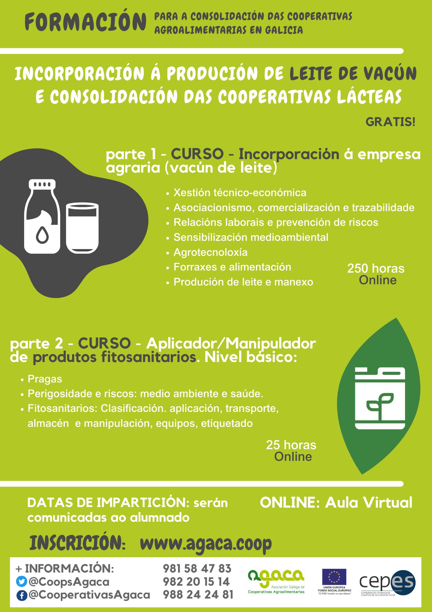 — CURSO ONLINE: Incorporación a la producción de leche de vacuno. Aplazado el inicio.