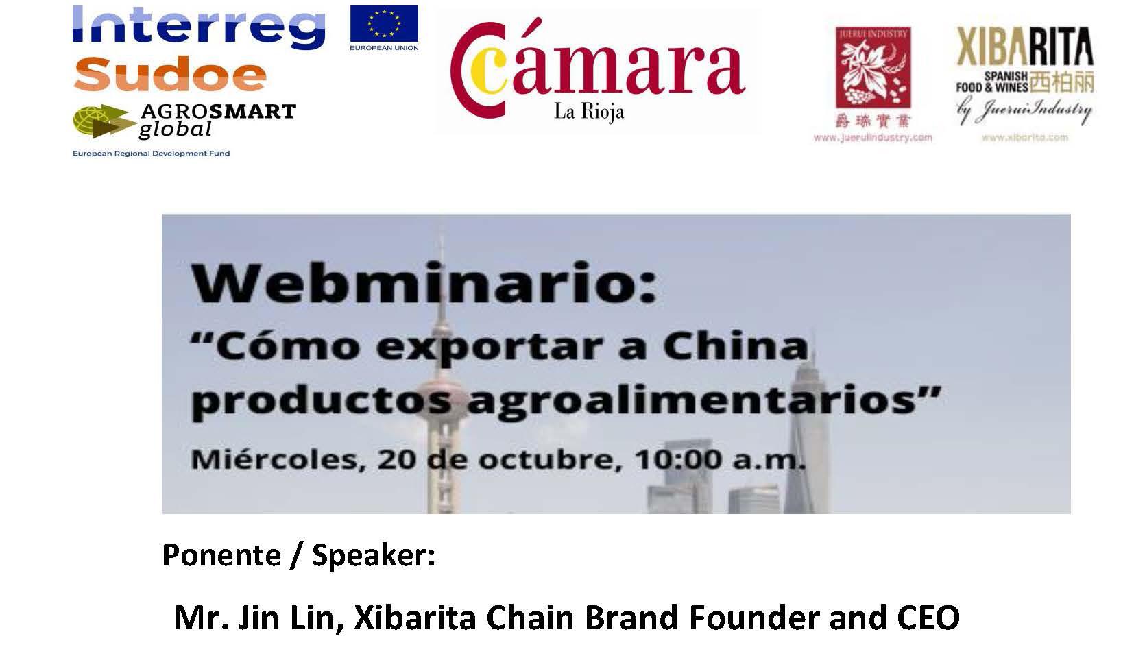 El 20 de octubre únete al webinario «Cómo exportar a China productos agroalimentarios» de AGROSMARTglobal